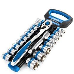28 sztuk 1/4 Cal zestaw kluczy nasadowych + przedłużenie CR V napęd grzechotka klucz nasadowy klucz dynamometryczny zestaw narzędzi do naprawy motocykli samochodowych w Klucze od Narzędzia na