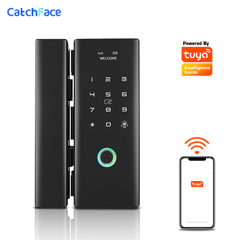 WiFi Remote Control Smart Lock Fingerprint/Tuya APP/RFID Card/Password Eletronic Door Lock For Frameless Glass Push/Sliding Door