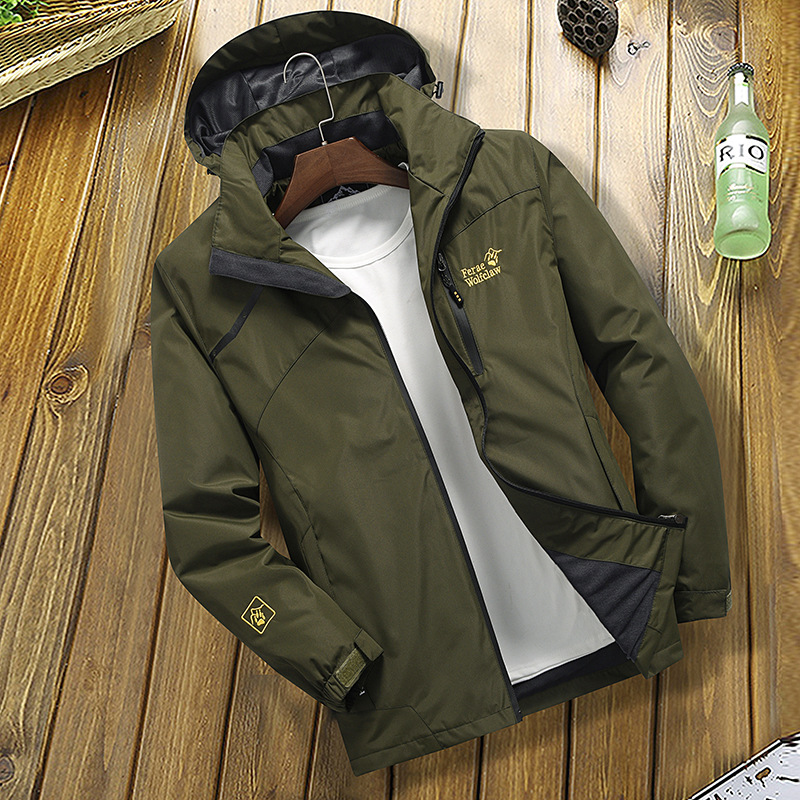 Outdoor Jacket Men's Thin Type For Spring And Autumn Trench Coat Unlined Coat Couples Loose-Fit Sports Casual Waterproof Raincoa