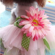 Dog Dress Princess Gauze Mesh Lace Tutu Dresses Sleeveless Tee Dog Clothes With Sunflower For Small Pet Dogs Wholesale(China)
