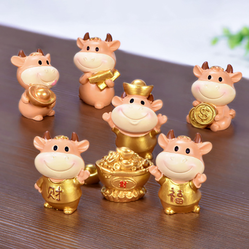 Bonito vaca família animal modelo estatueta casa decoração miniatura fada jardim decoração acessórios