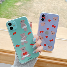 Korea red cherry bear phone case for iphone 11 Pro X XR XS MAX heart brown bears soft cover for iphone 7 8 Plus 7Plus clear capa