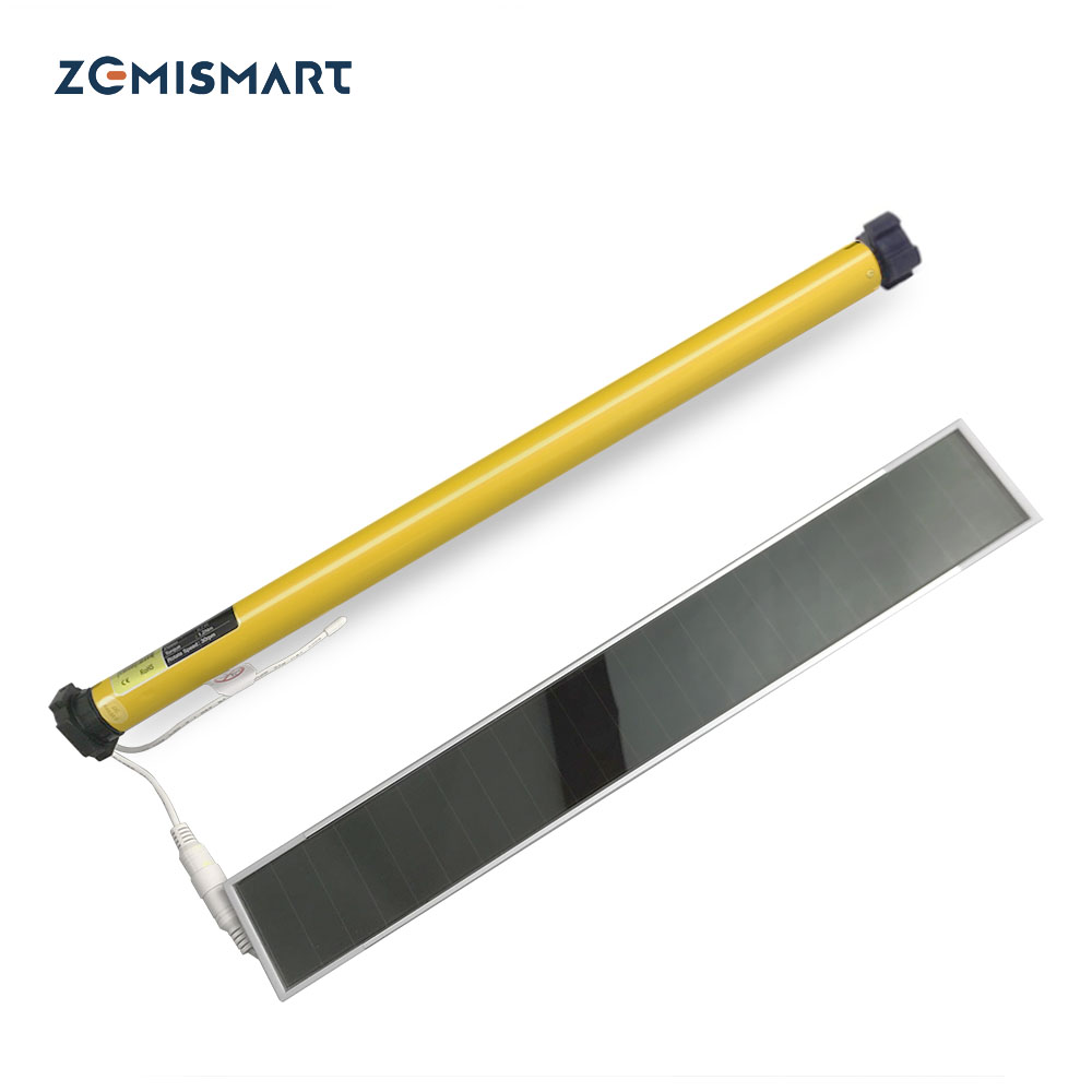 Rechargable Roller Blind Motor With Solar Panel For 38mm Tube Motorized Electric Roller Blind Shade RF Remote Control