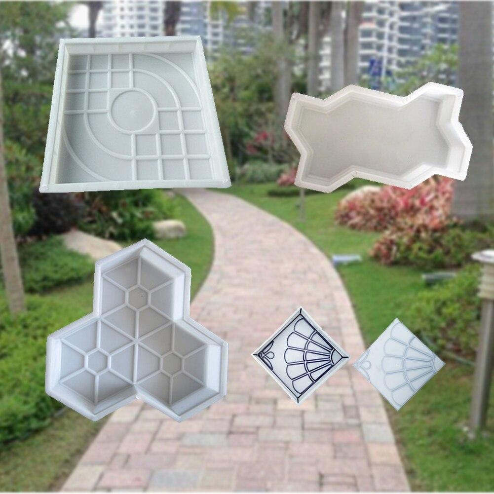 Manually Home Garden Path Cement Brick Removable Lightweight DIY Concrete Mold Plastic Stone Road Backyard Decoration Reusable