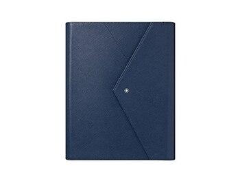 Montblanc/papier augmenté bleu sartural/Set penna a sfera nera, blocco note e dépositaire en pelle blu