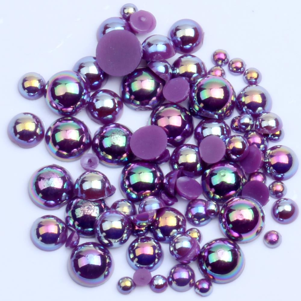 1000/500pcs 2-5mm And Mixed Size Dark Purple AB Glue On ABS Imitation Half Round Pearls Resin Flatback Beads For Jewelry Making