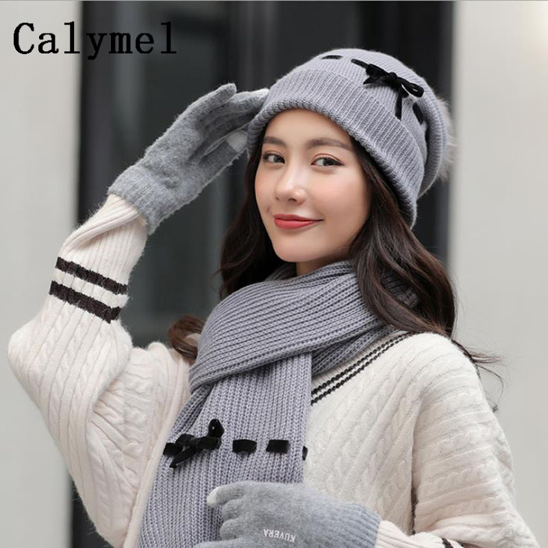 Calymel 2019 New Winter Wool Hat Scarf Gloves Set Ladies Fashion Knitted Set 3pcs Plus Velvet Thick Outdoor Ski Warm Set