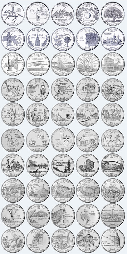 USA 25 Cents Coin <font><b>50</b></font> States 6 Special Districts Set 56 Pieces America Coins New Original Coin Unc Commemorative Edition image