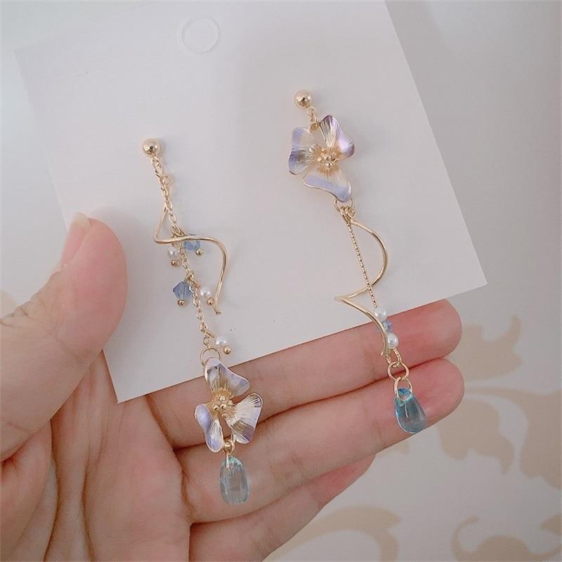Korea Harajuku Style Holiday Wind Spring Dreamy Asymmetric Purple flower Tassel Earrings Vintage Sweet Cute Women's Jewelry