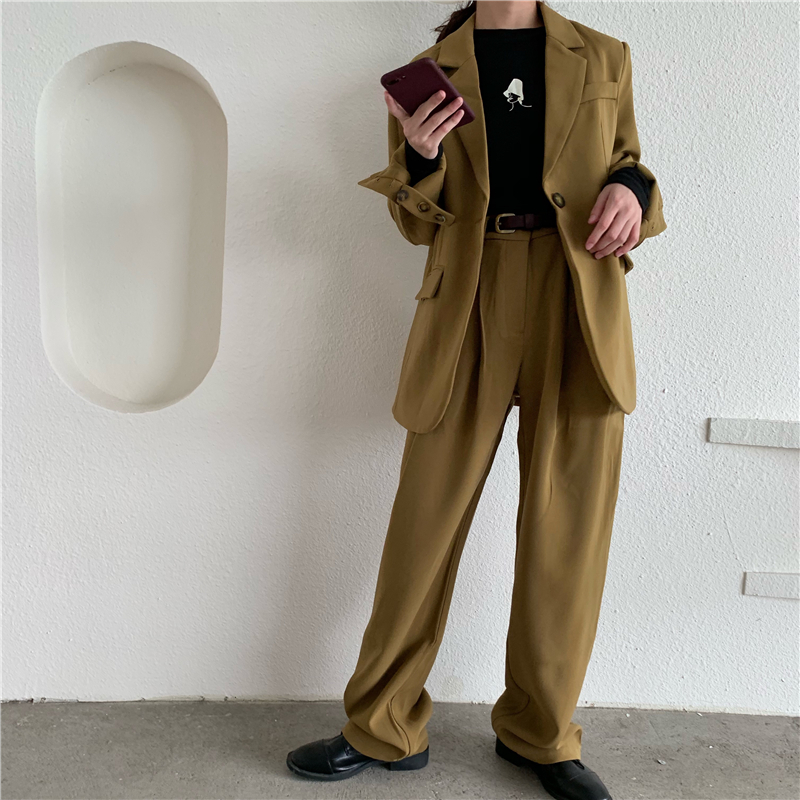 High Quality Wide Leg Pant Women Suit 2020 Single Breasted Oversize Long Blazer+Loose Casual Pant Spring Blazer Suit 2 Piece Set