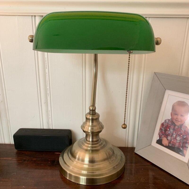 Retro Vintage Green Color GLASS BANKER LAMP COVER/Bankers Lamp Glass Shade Lampshade  Table Lamp Length 226mm