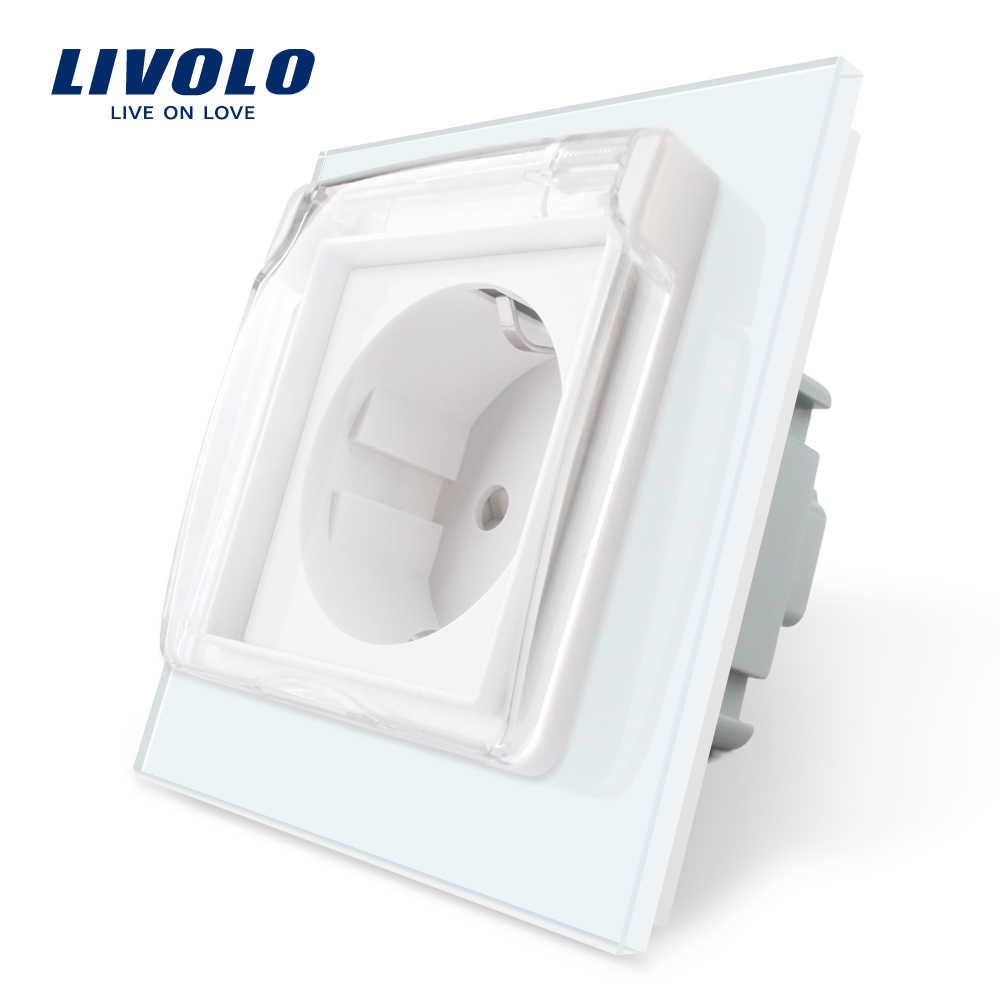 Công Tắc Cảm Ứng Livolo Tiêu Chuẩn EU Ổ Cắm Điện, Thủy Tinh Trắng Bảng Điều Khiển, AC 110 ~ 250V 16A Tường Ổ Cắm Điện Có Vỏ Chống Nước C7C1EUWF-11