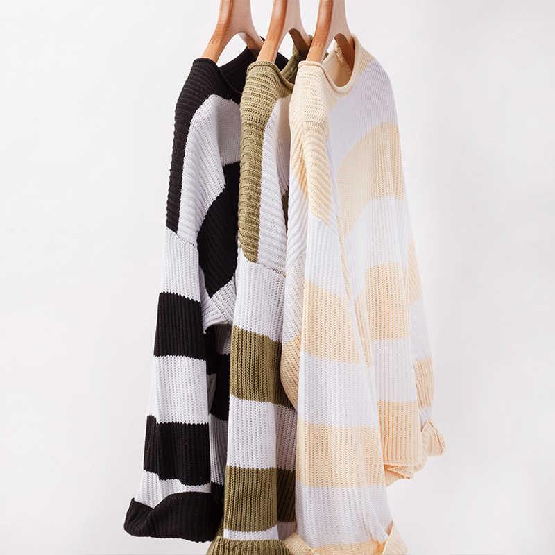 Versear женский модный свитер в полоску с круглым вырезом с расклешенными рукавами Осень-зима пуловер Топы свободная повседневная женская одежда джемпер Трикотаж