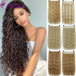 AILIADE Long 5 Clip in hair Extensions Corn Perm Natural Hair Extentions Female Headwear Synthetic Fake Hair Piece