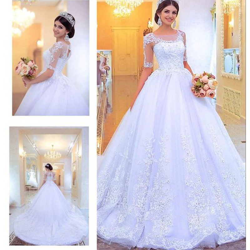 Robe De Mariee Lace Appliques Bridal Ball Gown Tulle With Half Sleeves Brides Vestido De Noiva 2018 Mother Of The Bride Dresses