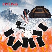 Almohadilla calefactora USB 8 en 1 para mujer, calefacción eléctrica con temperatura, chaqueta, chaleco cálido para invierno, caza, ciclismo, pesca, 2020