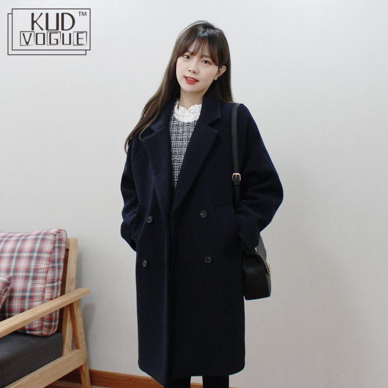 Korean Women Winter Coat Woolen Trench Vintage Oversized Coat Warm Long Sleeve Outwear Jacket Ladies Autumn Elegant Long Coat