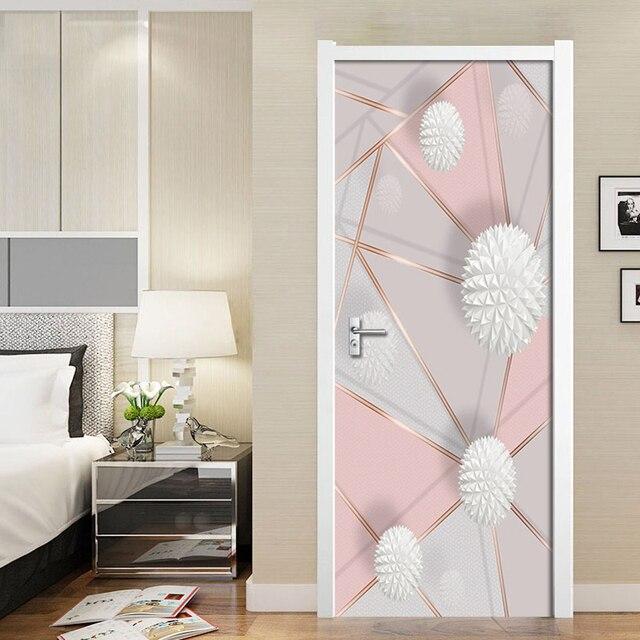 Фото съемные дверные наклейки 3d геометрические мраморные строчки цена