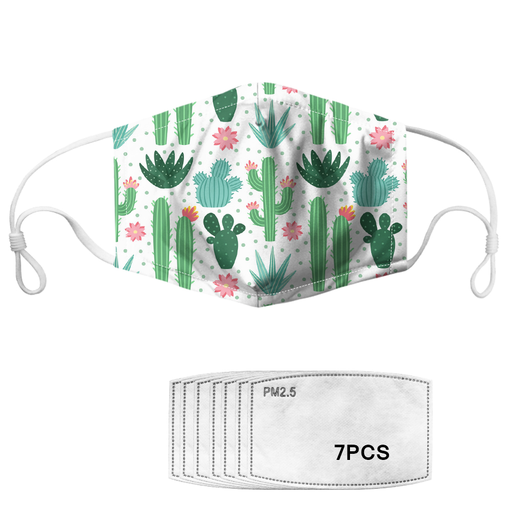 Cute Cartoon Cactus Girls Face Mouth Masks 7pcs Anti Haze PM2.5 Filter Students Soft Reusable Comfortable Mascarillas For Adults