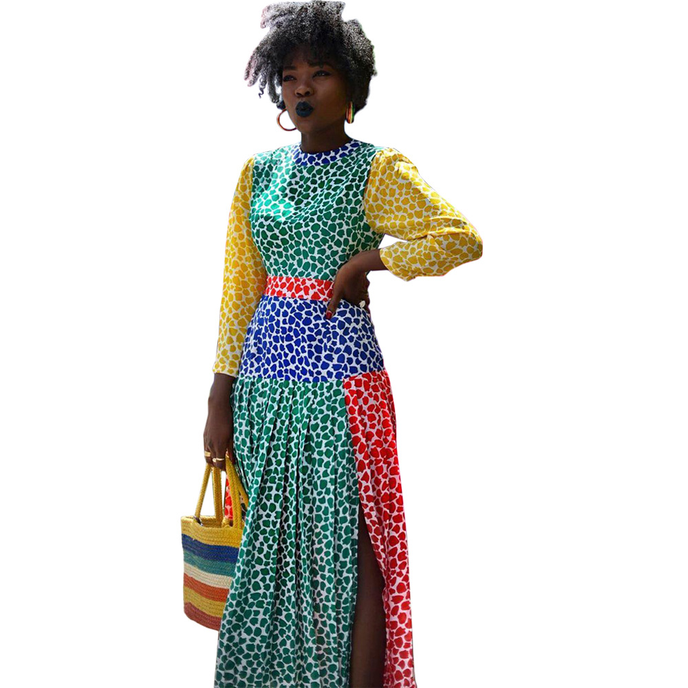 African Wind  Fashion WOMEN'S Dress Separate Station Multi-color Splicing Dress