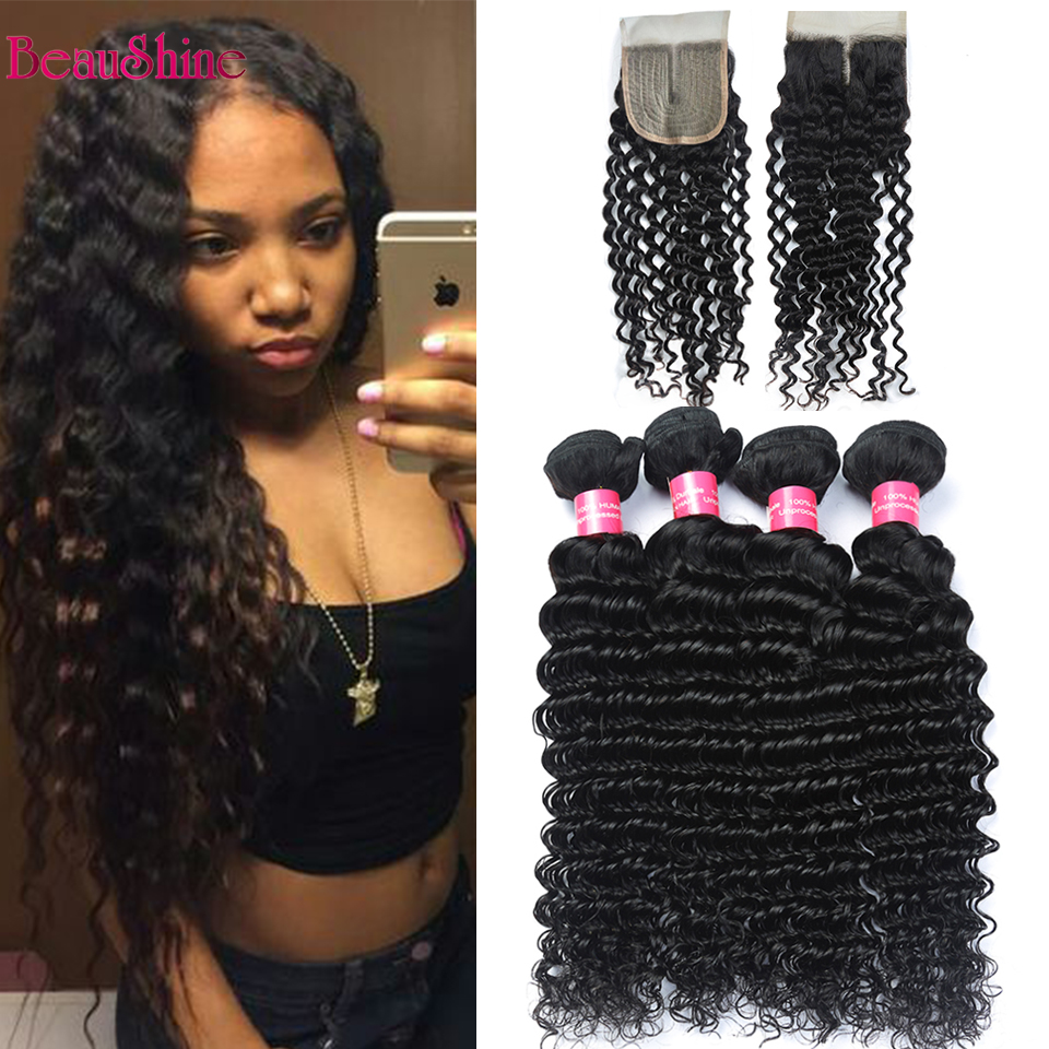 Peruvian Deep Wave Hair Bundles With T Part Lace Closure Natural Color Human Hair With Lace Closure