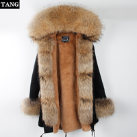 Real Fur Coat Super Large Scorpion Fur Collar Women Genuine Fur Coat Hooded Winter Jacket Parka With Belt Thick Warm Detachable