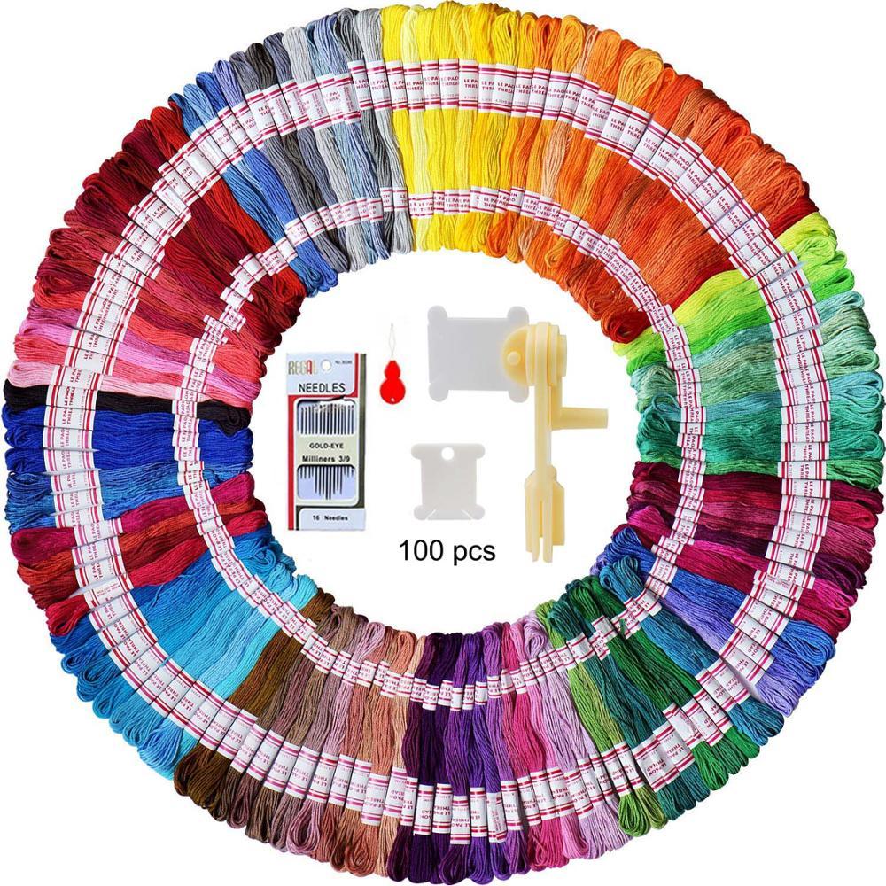Bobines de soie en plastique 100 pièces | Avec enrouleur de soie pour organisateur de fil de broderie, porte-fil de point de croix et broderie