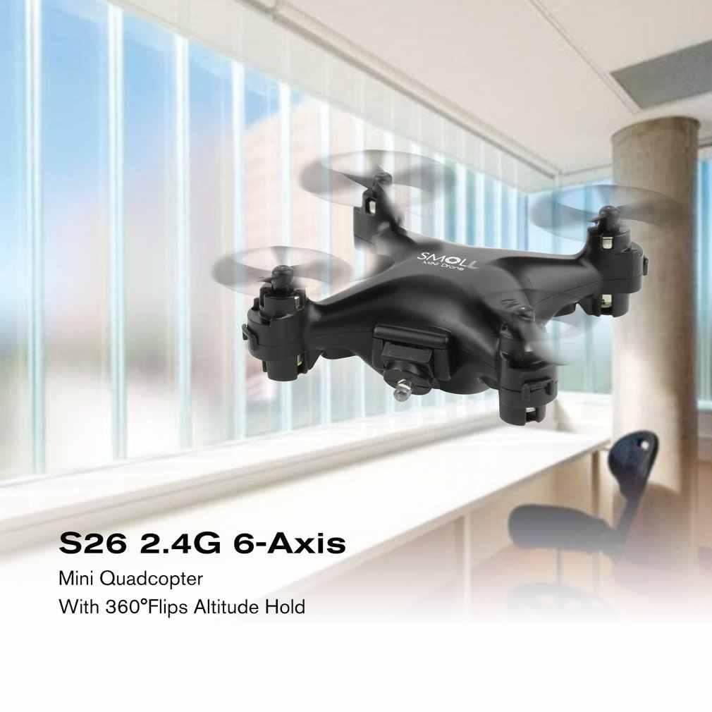 طائرة ذات أربع مراوح صغيرة بدون طيار بدون كاميرا كوادكوبتر بالريموت كنترول للأطفال مصباح ليد أسود داخلي في الهواء الطلق تحلق كوادكوبتر نموذج