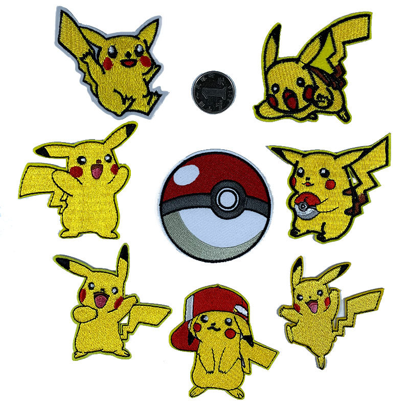 5pcs Cartoon Patches Pocket Monste Pikachu Movie Stars Patch Iron On Patches For Clothing Child Clothes Diy Ironing Stickers