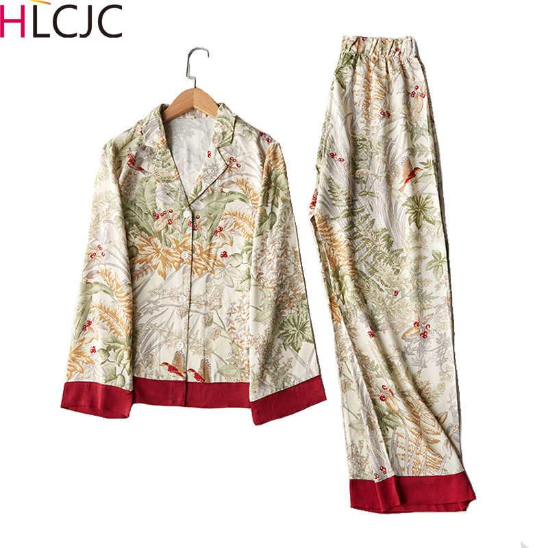 Primavera nova casual manga longa conjunto de pijama de cetim verde impressão de grama sleepwear loungewear feminino turn-down collar pijama mujer