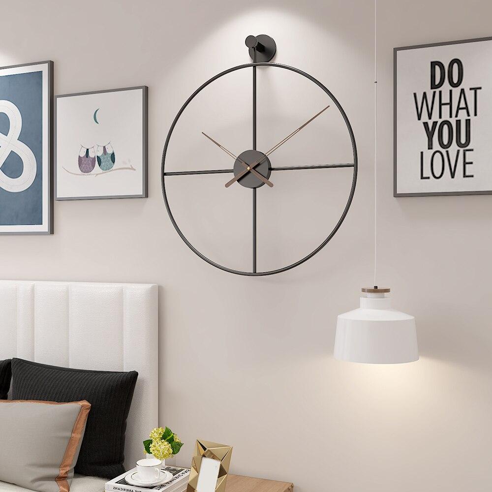 Mode 20 pouces 50cm rétro Style européen horloge murale ménage chambre fer Art horloge décor mural noir cadre noyer pointeur - 6