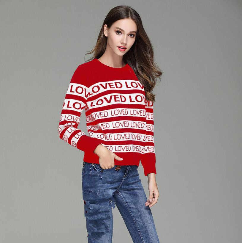 Подиумные пуловеры, свитера для женщин, красный полосатый свитер с вышивкой, жаккардовый трикотаж, mujer invierno 2019, pull femme hiver p75