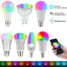 E14 E27 B22 RGB Wifi Smart Lampen 85-265V Dimmbare LED Smart Glühbirne Passt für Amazon Alexa google Smart Telefon System(China)