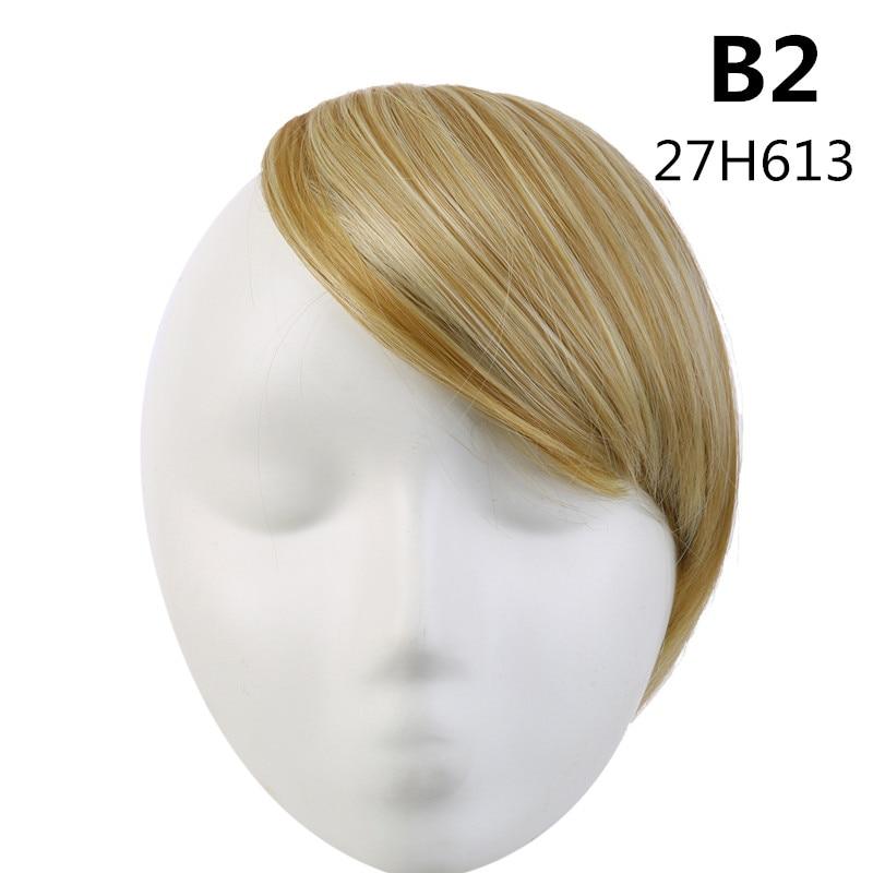 SARLA волосы челка клип в подметание боковая бахрома поддельные накладные взрыва натуральные синтетические волосы кусок волос черный коричневый B2 - Цвет: 27H613