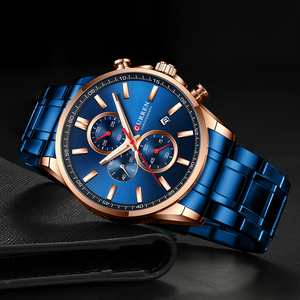 Image 4 - 2019 新CURRENトップブランドの高級メンズ腕時計自動日付時計男性スポーツ鋼腕時計メンズクォーツ腕時計レロジオ Masculino