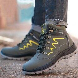 À prova dwaterproof água homem sapatos de segurança construção indestrutível oficial trabalho botas aço toe à prova de balas anti esmagamento confortável