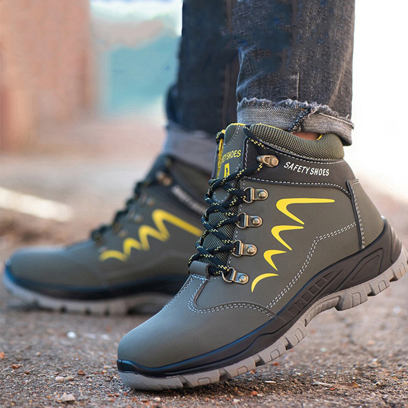 Waterproof Men Safety Shoes Leather Construction Officer Work Boots Steel Toe Bulletproof Anti Smashing Comfortable image