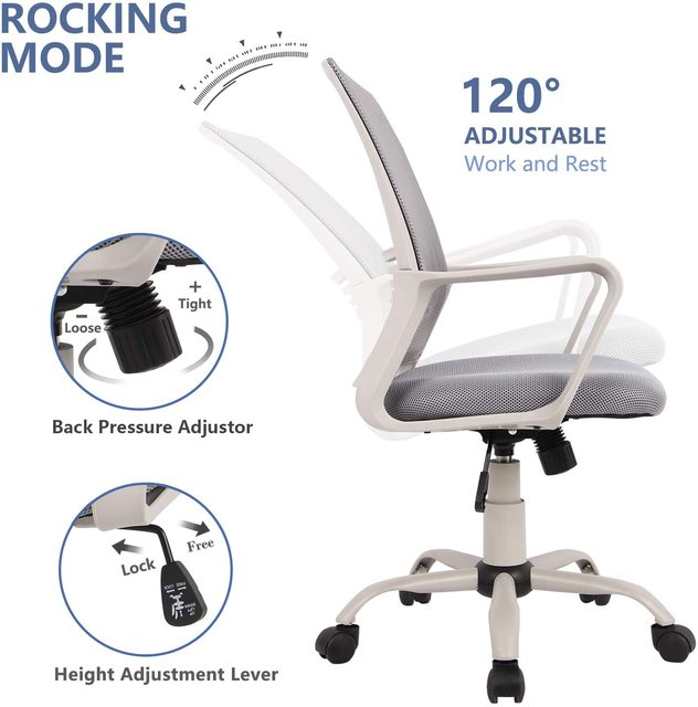 Ergonomic office chair Mid Back Mesh Computer Chair with Lumbar Support Armrest Executive Rolling Swivel Desk Chairs 5