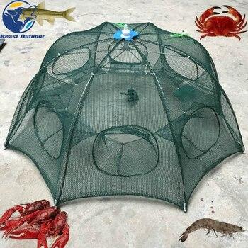 Hexágono portátil plegado 4/6/8/10/12 agujero automático de pesca red de pesca de camarón pescado Minnow cebos de cangrejo trampa de malla fundido