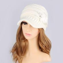 Women Winter Knit Hats Visor Ladies Girls Elegant Casquette Sequin Applique Wool Caps Flat Hat Black White Red Grey Korean Tidal цена 2017