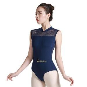 Image 1 - バレリーナ体操レオタード大人のためのバレエのレオタード女性スタンド襟セクシーなレースのボディスーツ Bailarina ダンスヨガレオタード