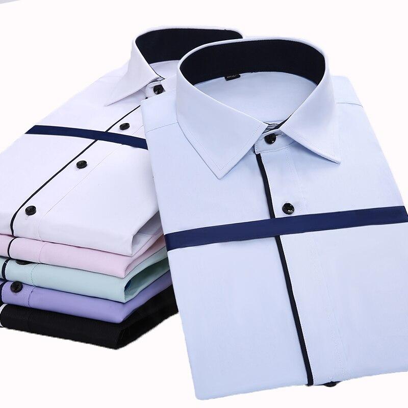 Aoliwen 2020 Spring Long Sleeve Men's Business Casual Shirt Dress Shirt Solid Color For Men Brand Men Formal Male Clothing Fit