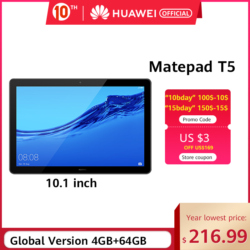 In Stock HUAWEI MediaPad T5 4GB 64GB Tablet PC 10.1 Inch Octa Core Dual Speaker 5100 MAh Support MicroSD Card Android 8.0