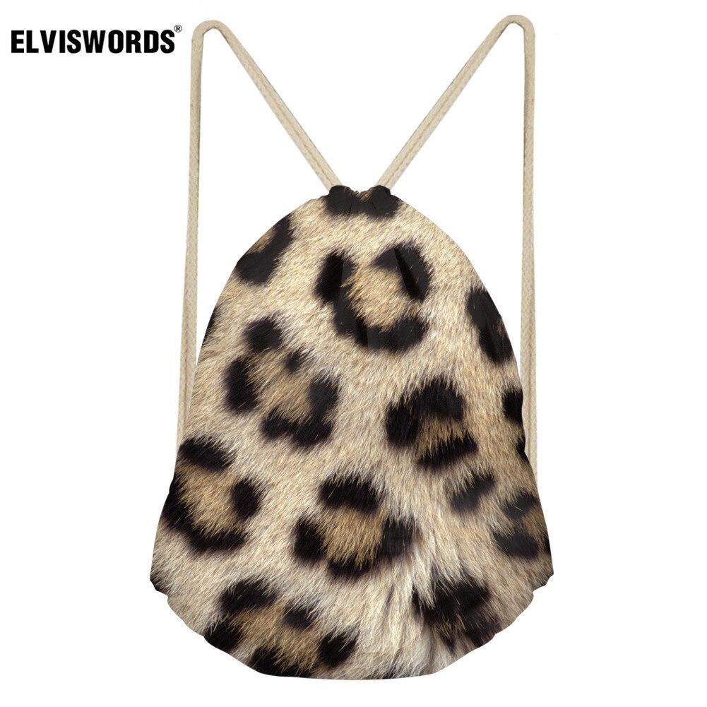 ELVISWORDS Funny Animal Skin Pattern Drawstring Bag Portable String Shoulder Bag Women Yoga Bag Gymbag School Backpacks For Kids
