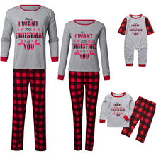 цена на Family Christmas Pajamas Sets Xmas Adult Father Mommy Daughter and Me Lattice Print Family Look Sleepwear Nightwear Clothes Suit