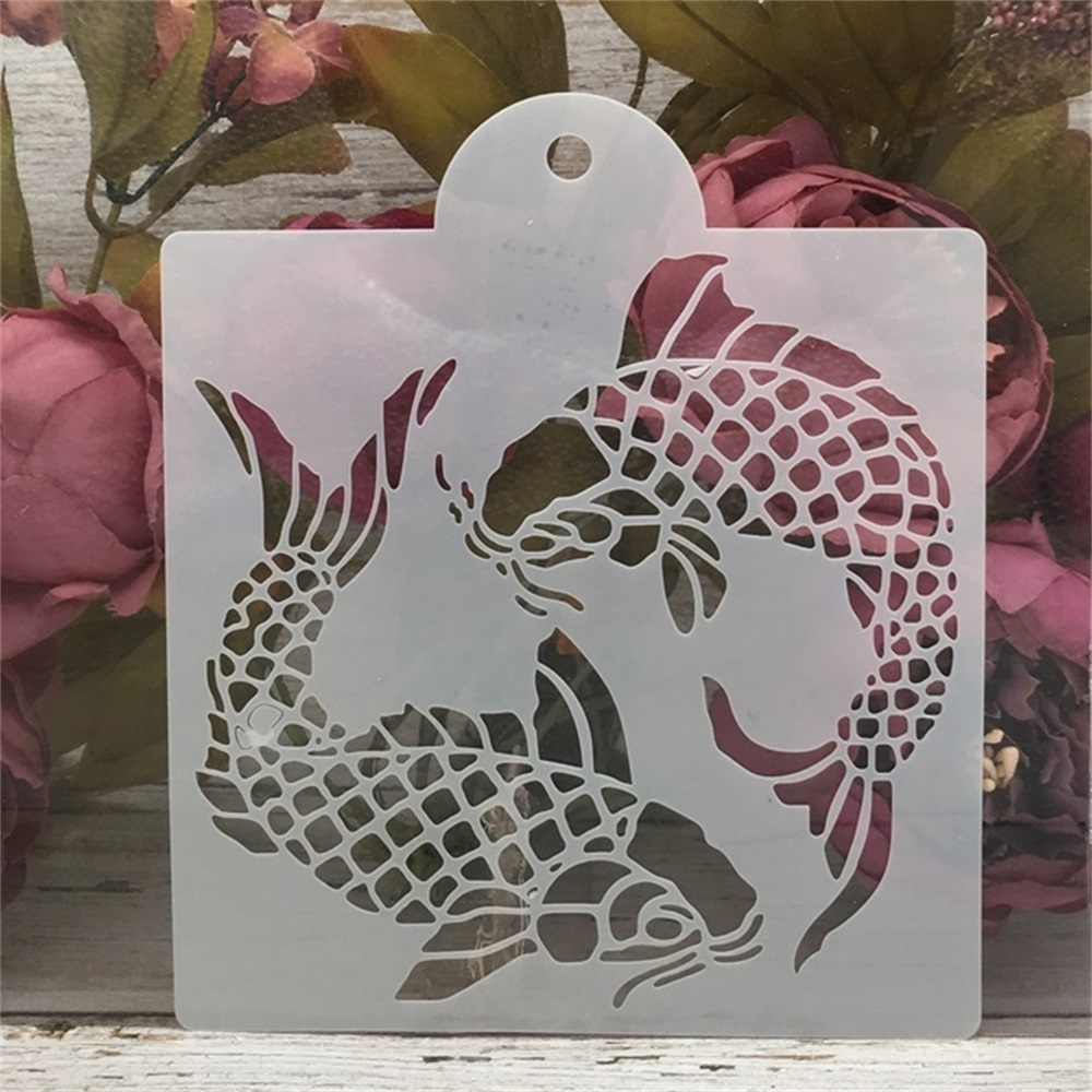 15*17.5cm Two Carp Fish DIY Craft Layering Stencils Painting Scrapbooking Stamping Embossing Album Paper Card Template