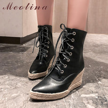 Купить с кэшбэком Meotina Autumn Ankle Boots Women Boots PU Leather Platform Wedge High Heels Short Boots Zip Round Toe Shoes Lady Autumn Size 43