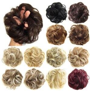 Мцветные синтетические гибкие пучки волос, кудрявые резинки, шиньон, эластичные грязные волнистые резинки, обертывание для наращивания хво...