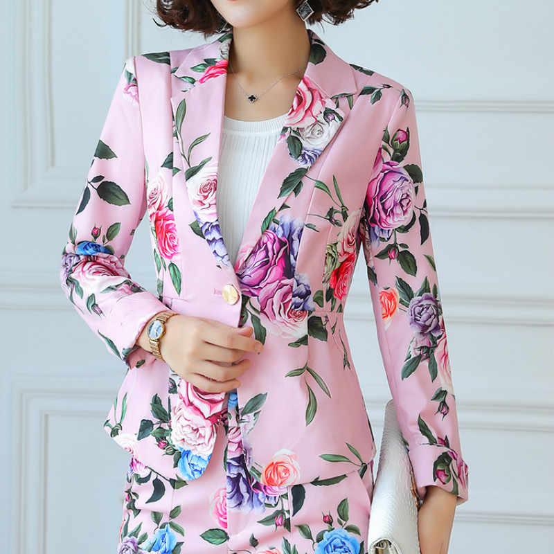 2019 ファッション女性のための花柄エレガントなフォーマルなスーツ女性オフィスレディビジネス作業服秋冬 S-4XL