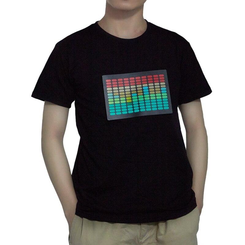 Men Sound Activated Led T-Shirt Light Up Flashing Rock Disco Equalizer Short Sleeve Led T Shirt L